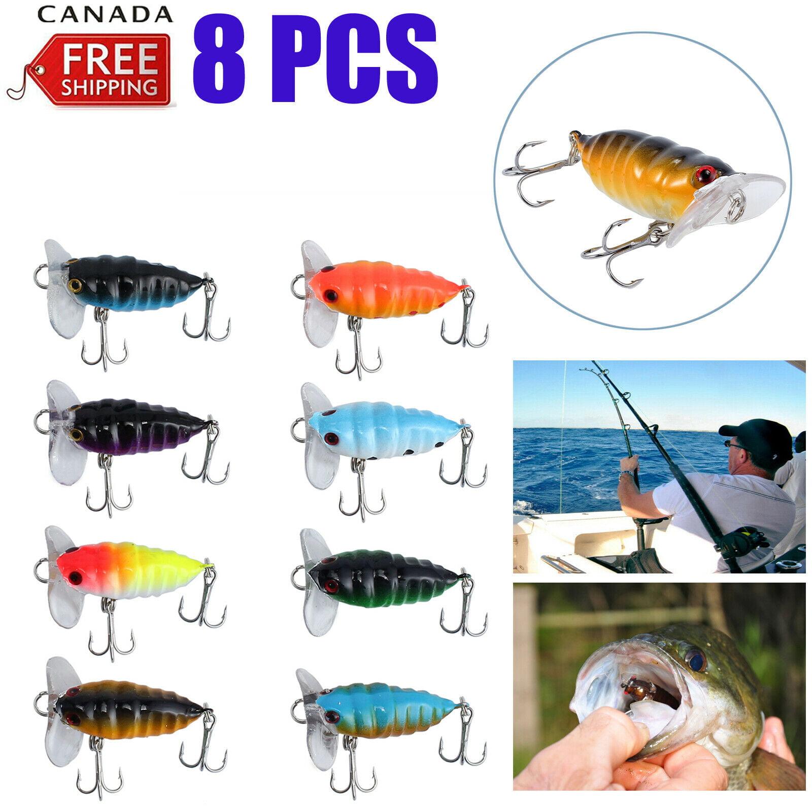 8x Cicada Topwater Lure Fishing Popper Crawler Surface Freshwater Bream Cod  Bass