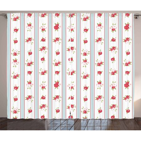 Shabby Chic Curtains 2 Panels Set, Vertical Borders Cute Rose Blooms Cottage Country Cabin Design, Window Drapes for Living Room Bedroom, 108W X 96L Inches, Baby Blue Dark Coral Green, by Ambesonne