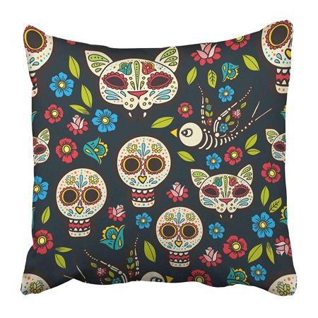 ECCOT Sugar The of Traditional Holiday in Mexico Skulls Ribbons Day Dead Cat Death Decals Pillowcase Pillow Cover 18x18 inch - Sugar Skull Cat