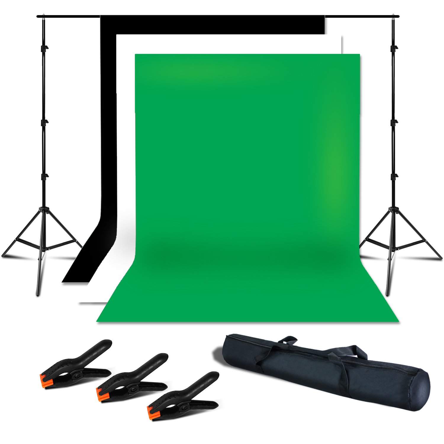 Loadstone Studio Photo Studio 7.5 x 10 ft. Adjustable Background Support Stand, Backdrop Support System Kit with 6 x 9 ft. White, Black, Green Muslin Backdrop and Background Spring Clamps, WMLS2741