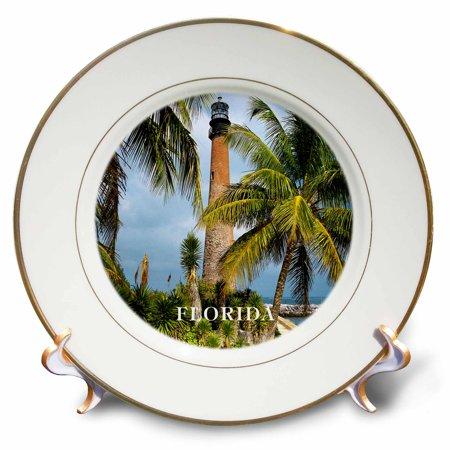 3dRose 1831 Cape Florida Lighthouse, Porcelain Plate, 8-inch
