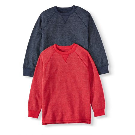Wonder Nation Long Sleeve Thermal Sweatshirt, 2 Pack (Little Boys, Big Boys, and Husky) Little Kids Teal Apparel