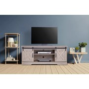 """Walsport Wood Universal TV Stand Media Console Furniture for TV's up to 64"""" Living Room Buffet Storage TV Cabinet with Slid Barn Doors Entertainment Center, 59in, White Oak"""
