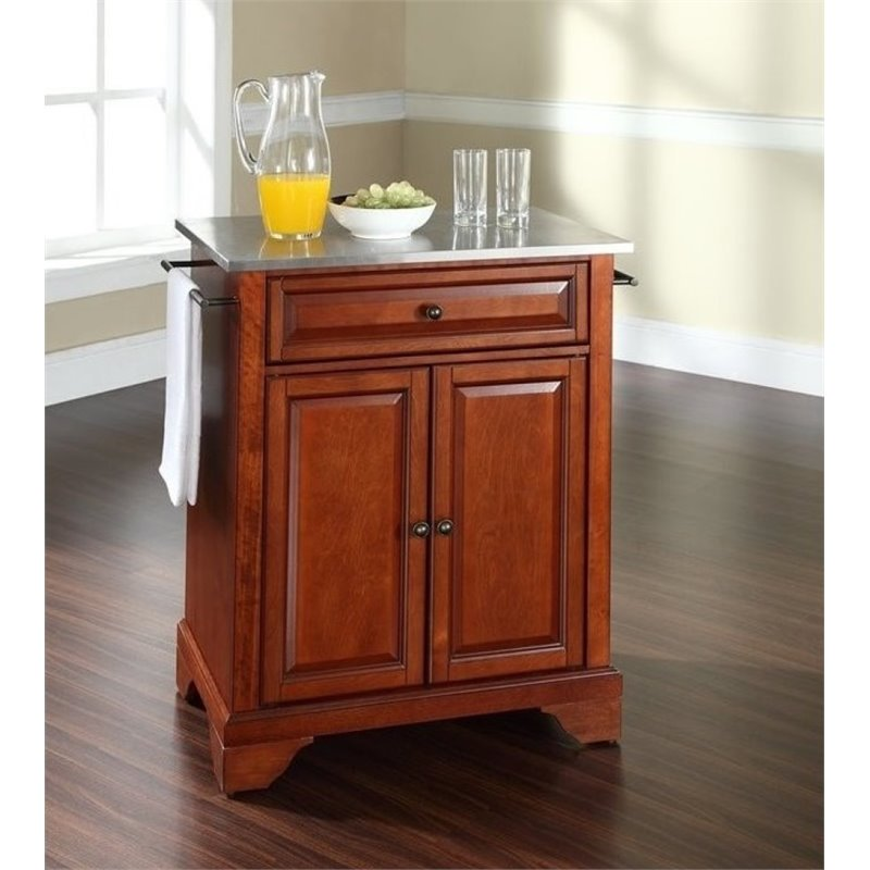 Bowery Hill Stainless Steel Top Kitchen Island in Cherry