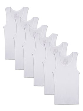 Fruit of the Loom Toddler Boys' White Tank Undershirts, 6 Pack (2T/3T, 4T/5T)