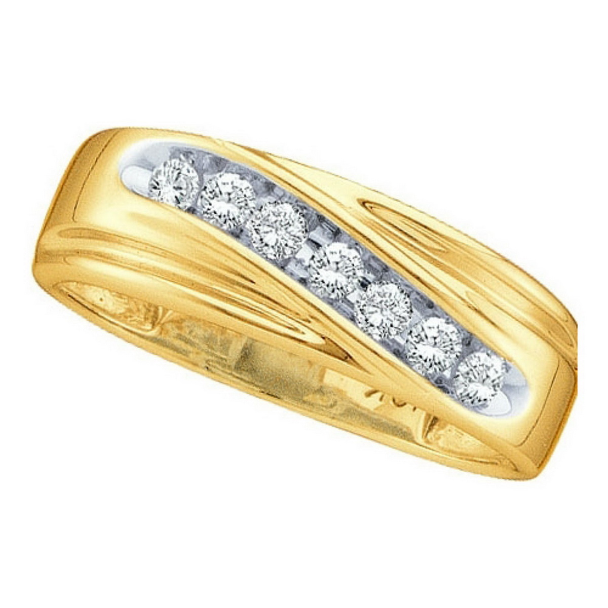 14k Yellow Gold Round Channel-set Natural Diamond 8-13 Mens Curved 2-tone Wedding Band (.25 cttw.) size- 12.5 by