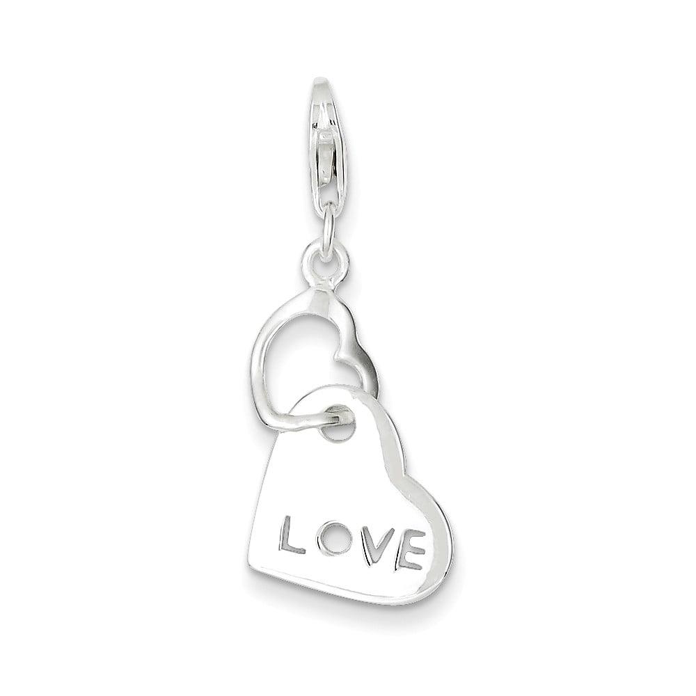 Sterling Silver Fancy Heart Love Charm (0.9in long x 0.5in wide)