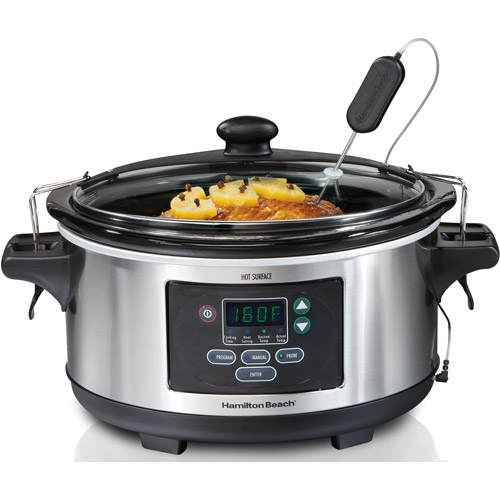 Hamilton Beach Set & Forget 6-Quart Programmable Slow Cooker, Stainless Steel