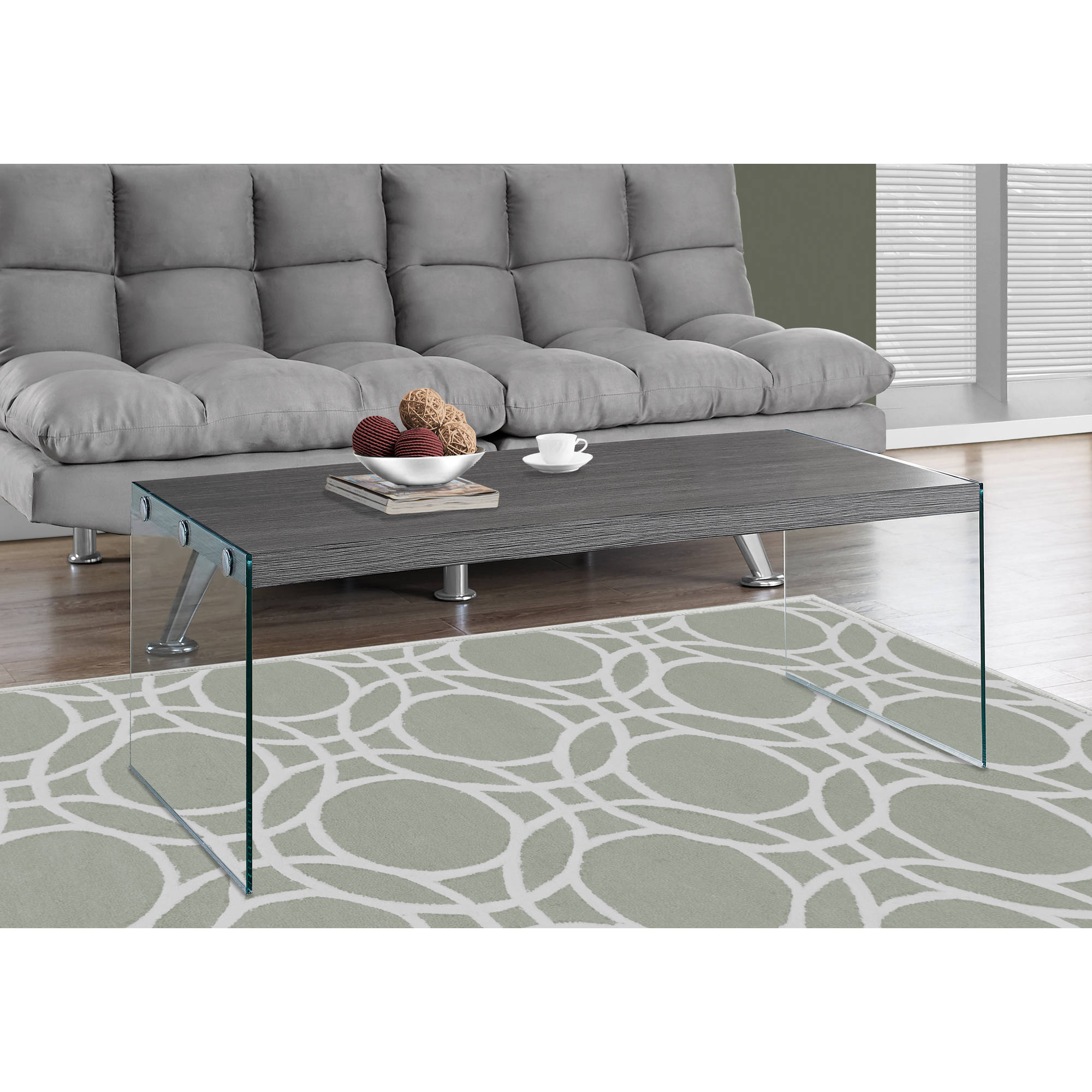 Monarch Coffee Table Glossy White With Tempered Glass Walmartcom