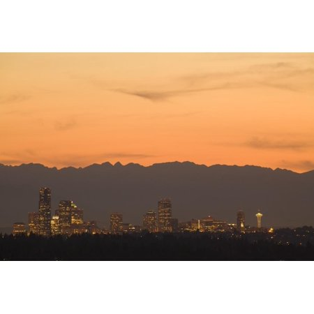 North America, United States, Washington, Seattle Skyline at Sunset, with Olympic Mountains behind Print Wall Art By John and Lisa Merrill