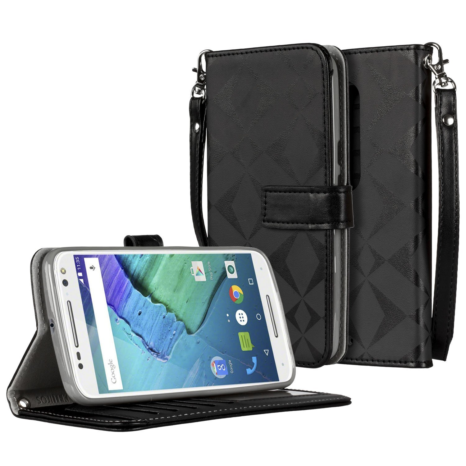 SOJITEK Motorola Moto X Style Premium Black Diamond on Black Series Color PU Leather Wallet Case with Stand / Removable Strap, Card & Money Pockets, ID Window Slots Pouches