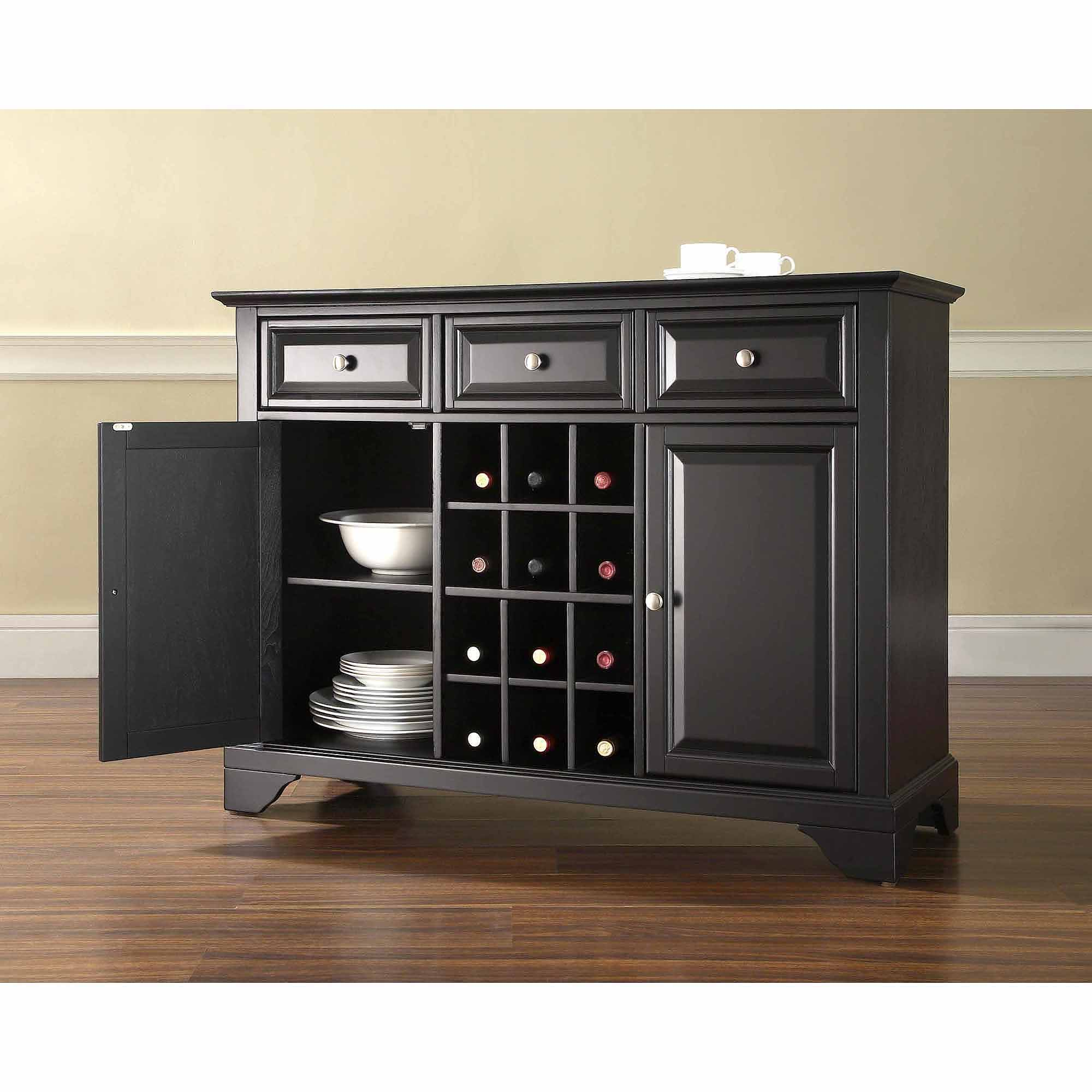 Crosley Furniture LaFayette Buffet Server and Sideboard Cabinet with Wine Storage