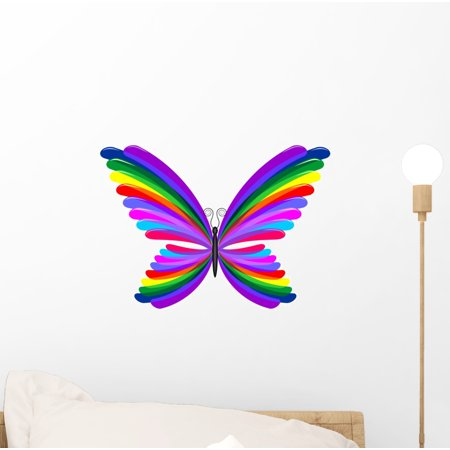 Butterfly Rainbow Abstract Design-farfalla Wall Decal by Wallmonkeys Peel and Stick Graphic (12 in W x 9 in H) WM92266