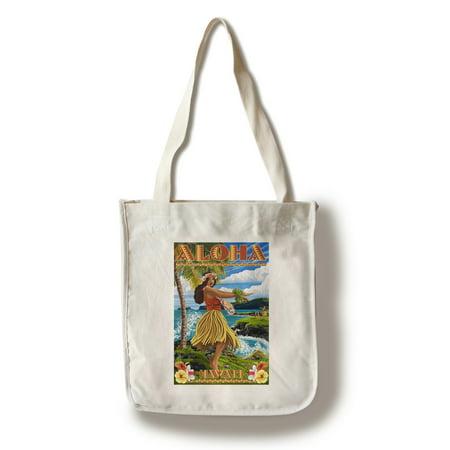 Hawaii - Aloha - Hula Girl on Coast (Flower Border) - Lantern Press Artwork (100% Cotton Tote Bag - Reusable)