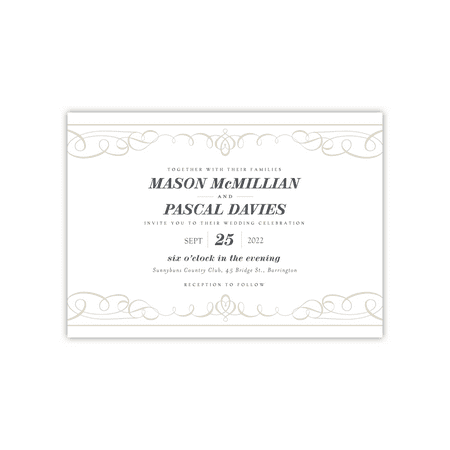 Personalized Wedding Invite - Elegant Flourishes - 5 x 7 Flat