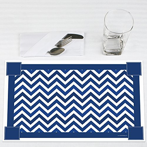 Chevron Navy Party Placemats Set of 12 by Big Dot of Happiness, LLC