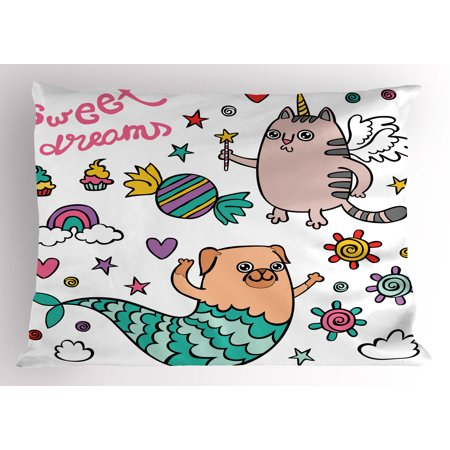 Unicorn Cat Pillow Sham Pug Mermaid and Unicorn Cat Wishing Sweet Dreams Colorful Sweets and Rainbow, Decorative Standard Queen Size Printed Pillowcase, 30 X 20 Inches, Multicolor, by (Mermaid Cat)