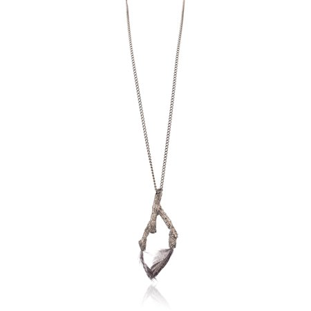 Roberto Cavalli Gunmetal Feather Inserted Branch Pendant Necklace