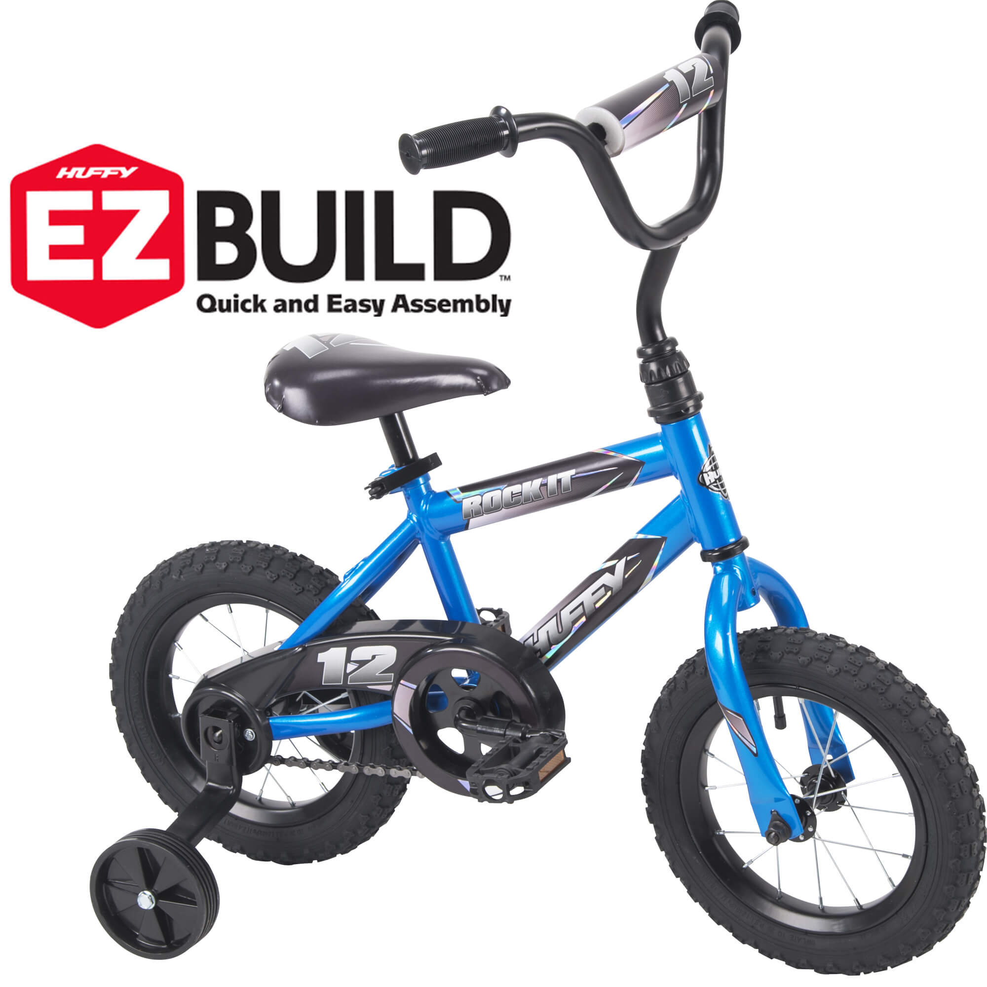 "Huffy 12"" Rock It EZ Build Kids Bike for Boys, Blue"
