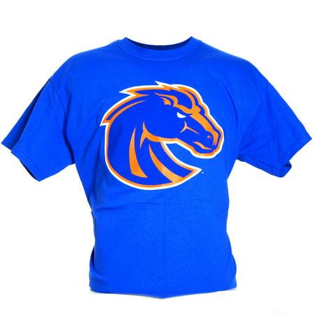 Boise state broncos medium logo t shirt blue for Boise t shirt printing