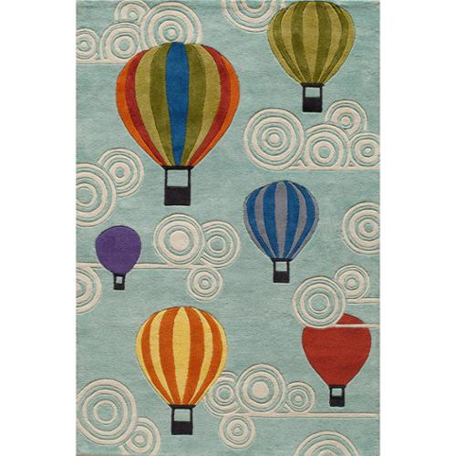 Momeni Lil Mo Hot Air Balloon Blue Hand Carved Area Rug