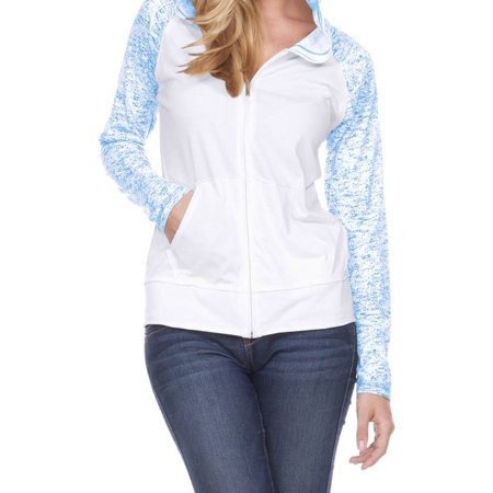 - Women Static Jersey Contract Raglan Long Sleeve Zip Hoodie, Style WJP0651