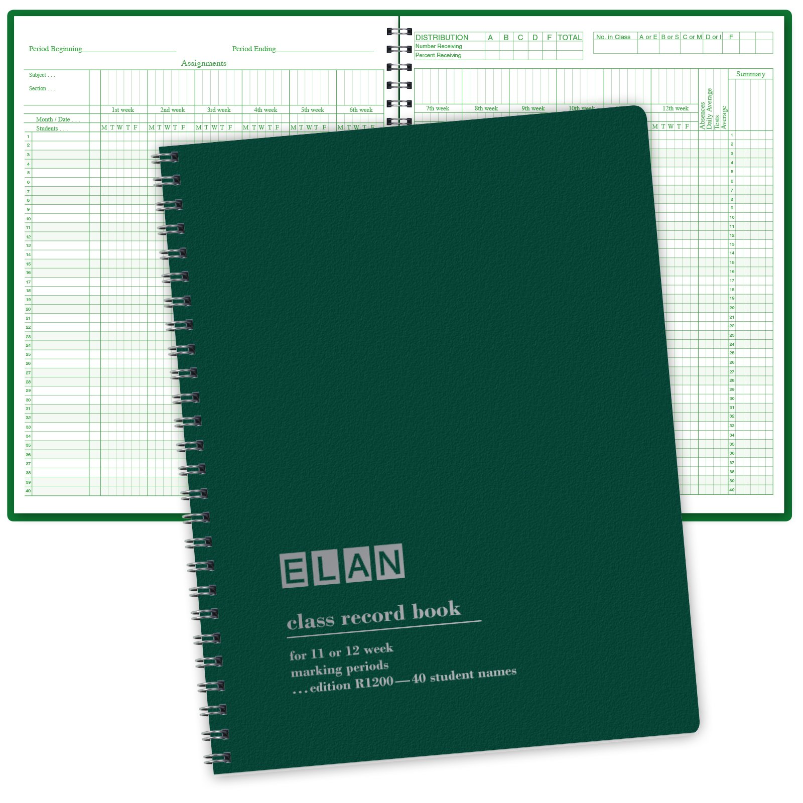 Class Record Book for 12 Weeks. 40 Names. Large Blocks (R1200) by ELAN Publishing Company