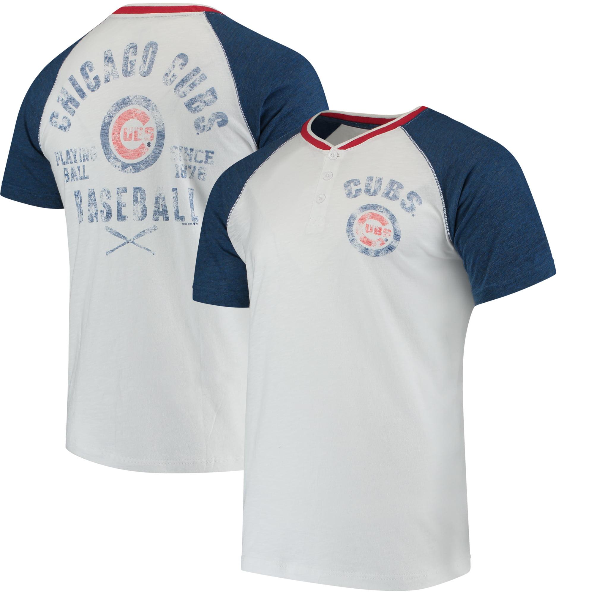 Men's New Era White/Heathered Blue Chicago Cubs Slub Raglan Sleeve Henley T-Shirt