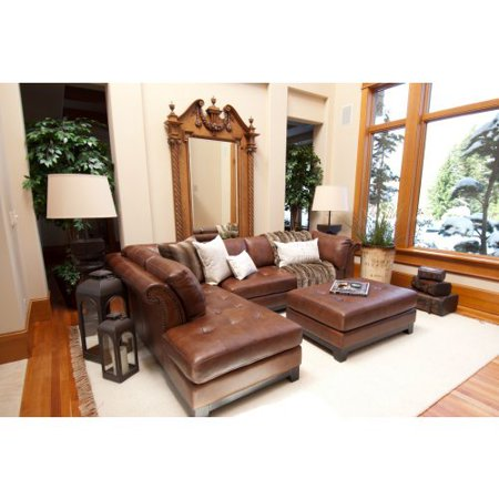 Elements corsario 2 piece top grain leather sectional with for Flexsteel 4 piece sectional sofa with right arm facing chaise in brown