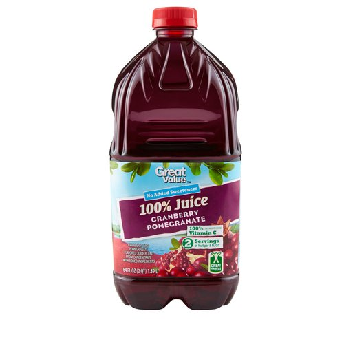 Great Value 100% Cranberry Pomegranate Flavored Juice Blend, 64 oz