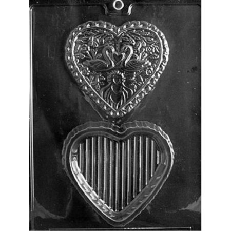 Heart Pour Box Chocolate Mold (Cybrtrayd W032 Swan Heart Pour Box Wedding Chocolate Candy)