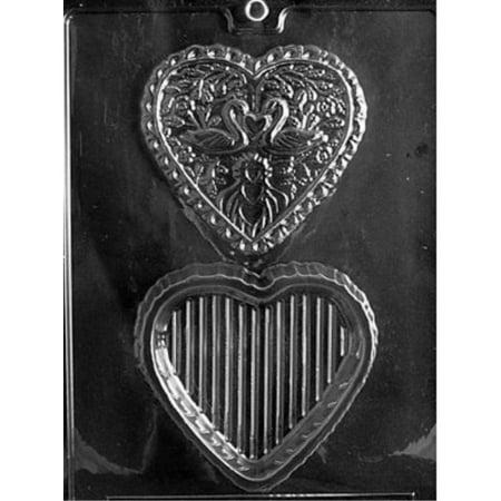 Cybrtrayd W032 Swan Heart Pour Box Wedding Chocolate Candy Mold