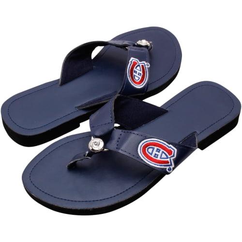 Montreal Canadiens Women's Circle Stone Flip Flops - Navy Blue - 5/6