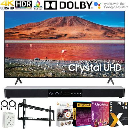 "Samsung UN65TU7000 65-inch 4K Ultra HD Smart LED TV (2020 Model) Bundle with 31-in Sound bar+Wall Mount+Tech Smart USA TV Essentials 2020 & Surge Adapter (UN65TU7000FXZA 65TU7000 65"" TV)"