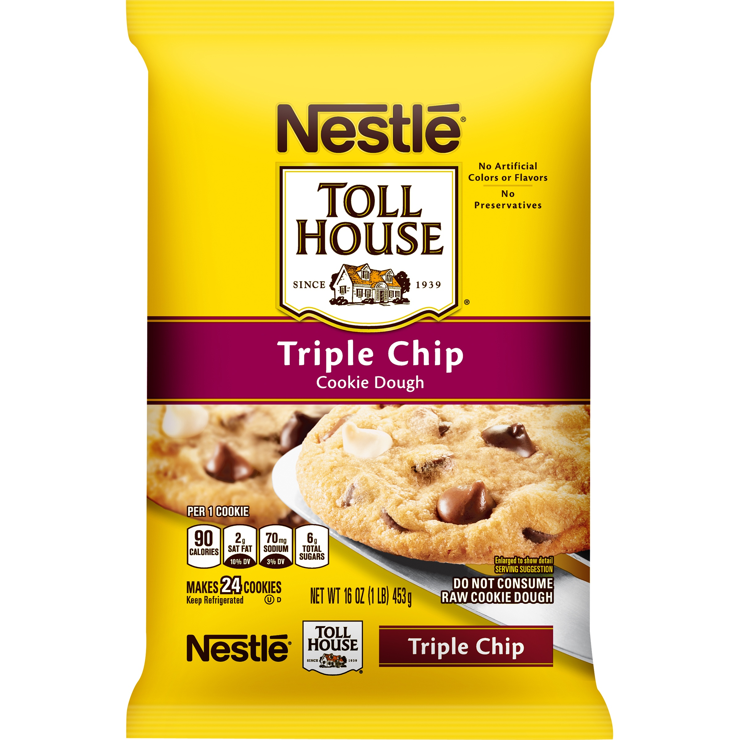 Nestle TOLL HOUSE Triple Chip Cookie Dough 16 oz. Bar