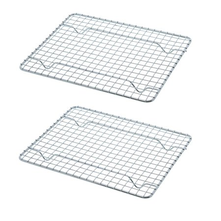 """Heavy-Duty 1/4 Size Cooling Rack, Cooling Racks, Wire Pan Grade,Walmartmercial Grade, Oven-Safe, Chrome, 8 x 10"""", Set of 2,Walmartmercial grade wire pan cooling rack By UPI"""