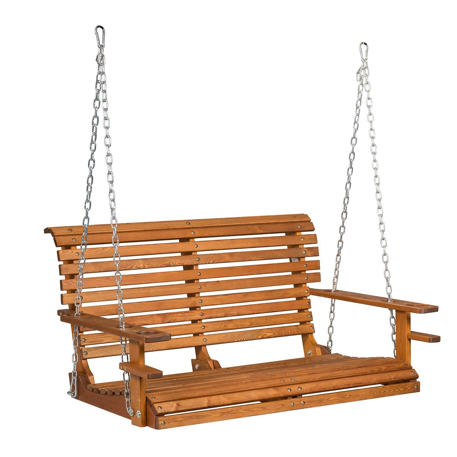 Buy-Hive 4ft Porch Swing Wood Patio Swing Chair Hanging Bench Deck Courtyard w/Cup Holder