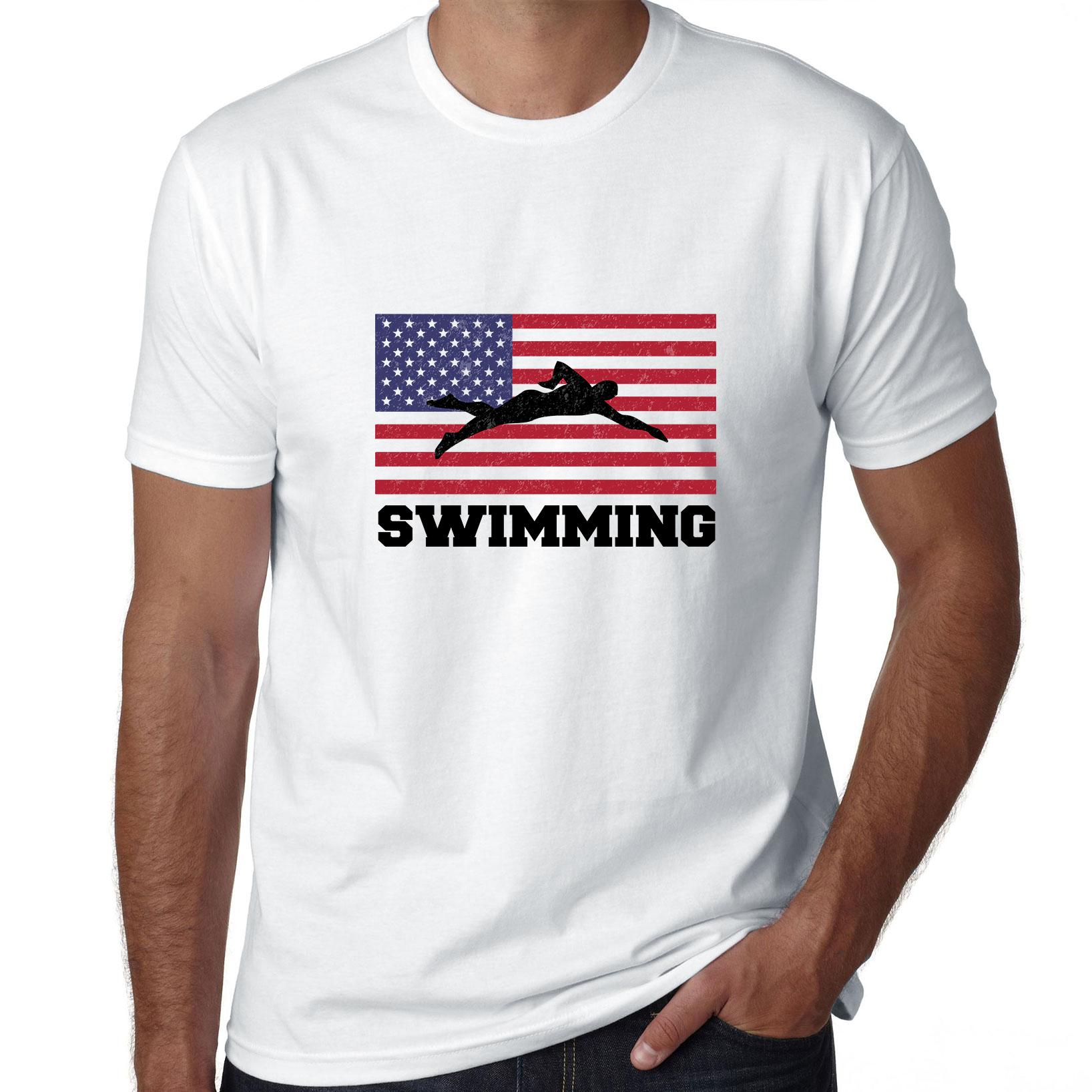USA Olympic - Swimming - Flag - Silhouette Men's T-Shirt