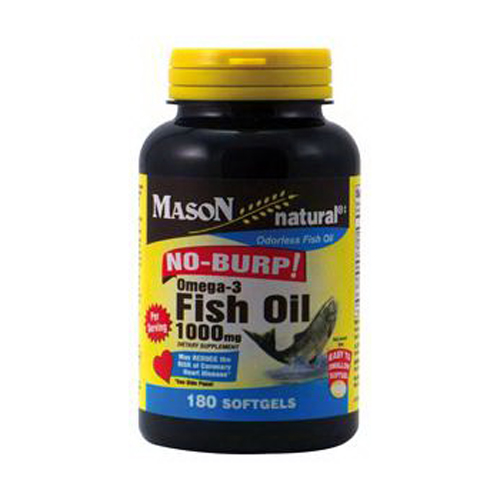 Mason Natural Fish Oil 1000 Mg Omega-3 No Burp Softgels - 180 Ea