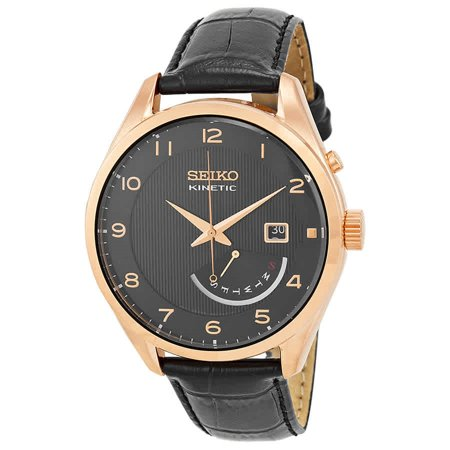 Mens Kinetic Black Dial - Mens Kinetic Analog Stainless Watch - Black Leather Strap - Black Dial - SRN054