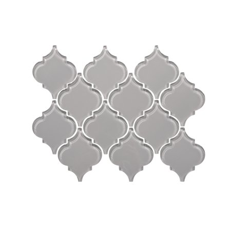 "Water Jet Series 3"" x 3"" Glass Mosaic Tile in Dark Gray"