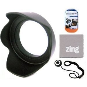 77mm Digital Tulip Flower Lens Hood for Sony 16-35mm f/2.8 ZA SSM Carl Zeiss AF SLR Lens + Cap Keeper + Microfiber Cleaning Cloth + LCD Screen Protectors