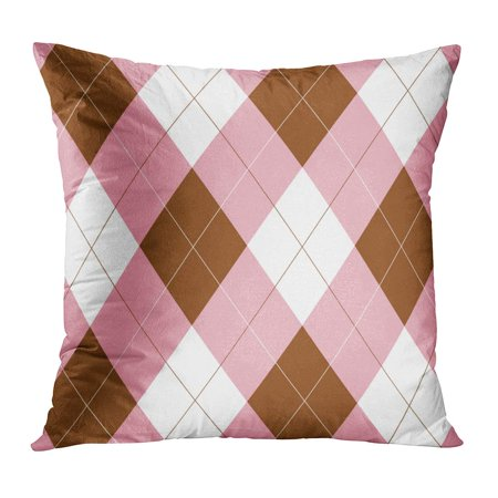 ECCOT Pattern Pink Brown and White Argyle 1980S 70S 80S Retro 1960S Pillow Case Pillow Cover 16x16 inch
