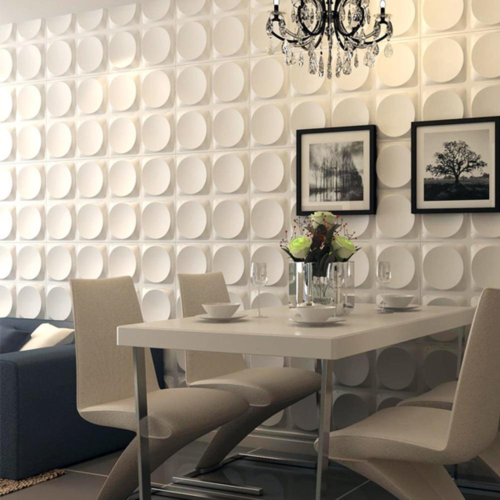 Art3d White Wall Panels Moden 3D Wall Decor, Moon Surface