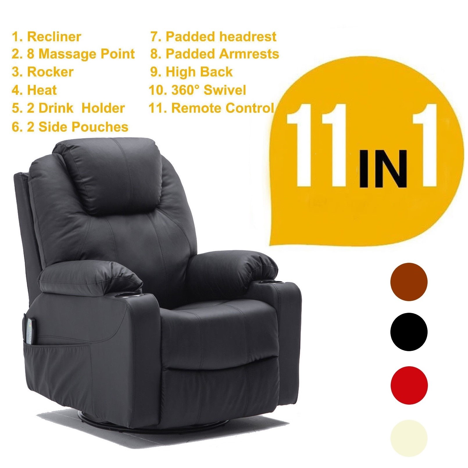 Mcombo Massager Sofa Rocker Recliner Chair PU Leather 360 Swivel Vibration Heat w/ Remote Control  sc 1 st  Walmart & Swivel Recliner Chairs