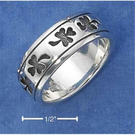 Sterling Silver Shamrock Band Ring with Antiqued Finish - Size 11