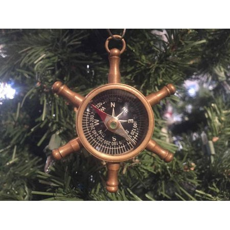 Christmas Decorations Ideas For Office (Antique Brass Ship's Wheel Compass Christmas Ornament 5