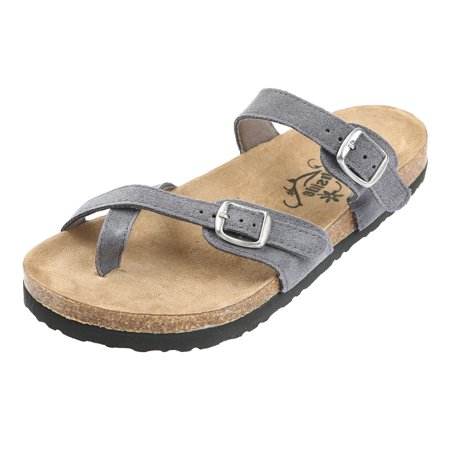 Leather Woven Sandals - Northside Womens Anya Leather Strap Cork Sandal