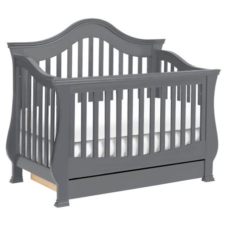 Million Dollar Baby Classic Ashbury 4-in-1 Convertible Crib with Toddler Bed Conversion Kits in Manor Grey (Dollar Bead)