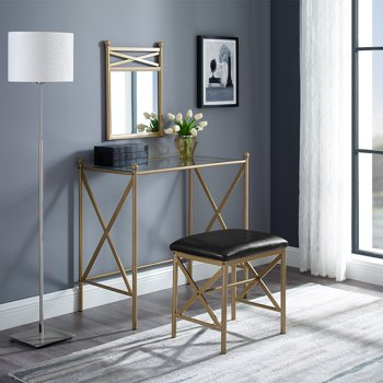 Mainstays Gold Metal Vanity with Wall Mirror and Upholstered Stool